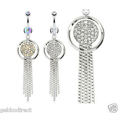 Surgical Steel Paved Round Plate Belly Bar with Chandelier Dangle Navel Ring