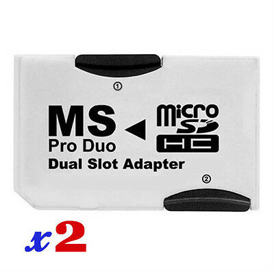 AD402 x2 Micro SD HC TF To PSP Memory Stick MS Pro Duo Card Dual 2 Slot Adapter