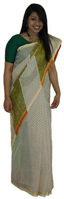 Women's Olive Green Chequered Pattern Tangail Saree One Size (TG2006)