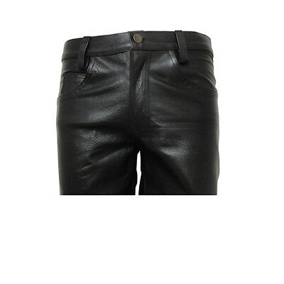 Men's Black Leather Jeans Style 5 Pockets Shorts Brand New Size 28 To 44