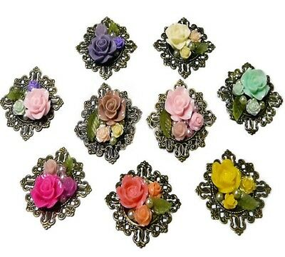 Vintage style brooch, Rose flower garden mosaic collage - choose your colour