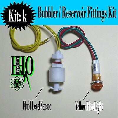 12v DC, Tank Float Switch, Yellow Idiot Light, HHO, Bubbler, Reservoir, Dry Cell