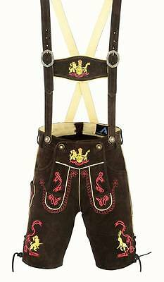 Authentic german bavarian lederhosen men brown suede leather 1005