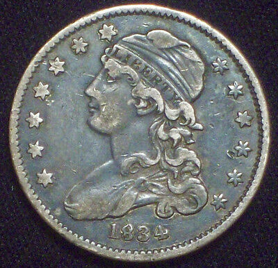 1834 O over O Bust SILVER Quarter XF Coin PRICED TO SELL* 0/0 *ROTATED REVERSE*
