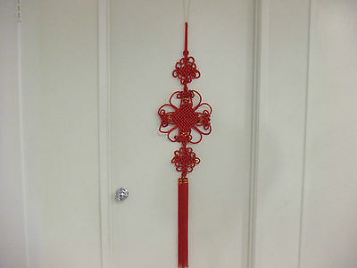 "Red Embroidery Chinese Knot Double Tassels Pendant for home decor 50"" Long"