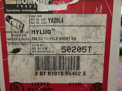 "BURNDY Crimp Lug YA29L4 250Kcmil 1-Hole 3/8"" Bolt *Box of 4* New Surplus"
