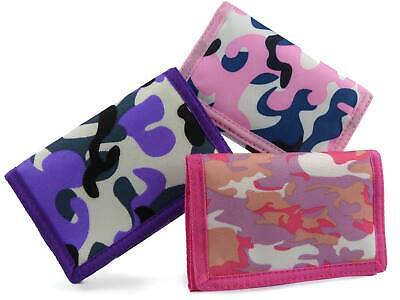 Ladies or Girls Camouflage Wallet Canvas TriFold Camo Slim Girly Colours