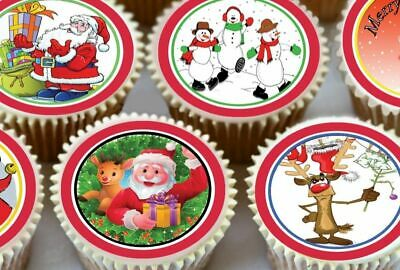24 X Christmas Mixed Images Edible Cupcake Toppers Premium Rice Paper 2025