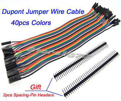 40pcs Dupont Jumper Wire Cable 2.54mm 1P-1P Female to Female with Header s898