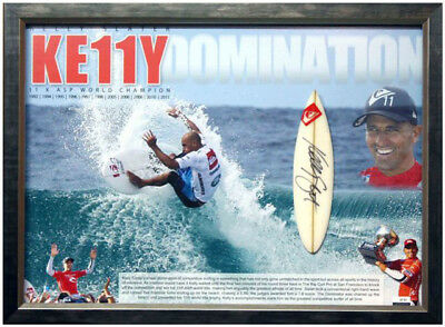 "Kelly Slater 11 X World Champion Signed "" Dominator "" Mini Surfboard Display"