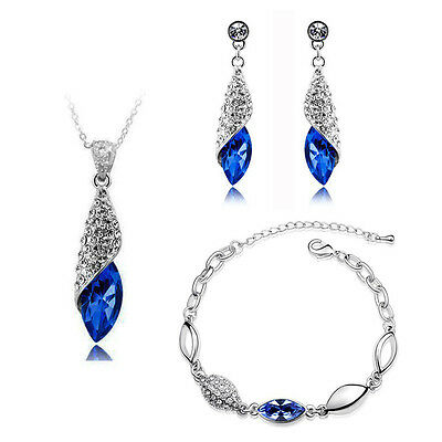 Jewellery Set Dark Royal Blue Crystal Teardrop Earrings Necklace & Bracelet S286