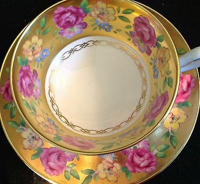 Royal Chelsea Gold And Flowers Roses Tea Cup And Saucer