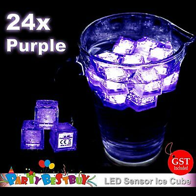 New 24X Switch Purple Ice Cube LED lights Party Wedding Christmas Glow Decoratio