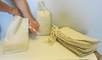 """3 Canvas Coin Bank Deposit Bag With Sewn-On Ties 9"""" By 17.5"""" Money Sacks Bags"""