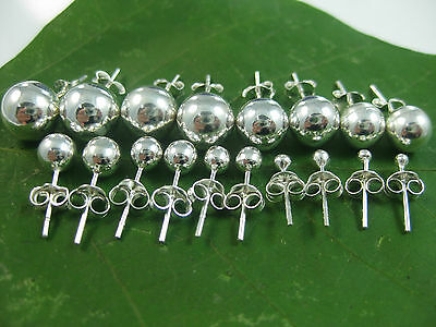 100%REAL 925 sterling silver 2mm to 16mm plain ROUND BALL studs EARRING - UNISEX