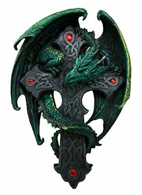 """Anne Stokes Collection Wall Plaque Woodland Dragon On Cross Gothic Figurine 9""""h"""