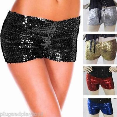 Glittering Sparkling Sequin Stretch Hot Pants Shorts M-2XL Costume Cosplay Dance