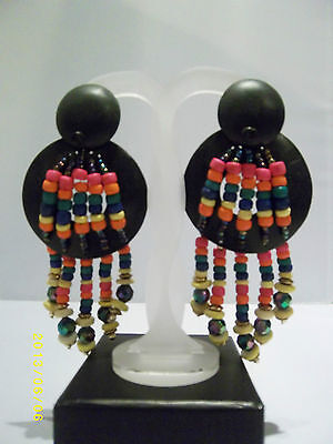 Black and Rainbow Wood Bead Dangly Earrings Large Statement Ethnic Tribal
