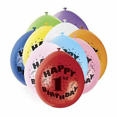 AGE 1 BALLOONS pack of 10 - BABY'S 1ST -  boy girl HAPPY BIRTHDAY PARTY BALLOONS