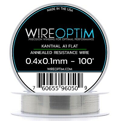 Kanthal Ribbon A1 Wire 100ft Roll 0.4mm X 0.1mm , 11.4 Ohms/ft Resistance