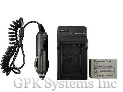 Battery and Charger for Canon PowerShot SX50 HS SX40 HS G15 HS G1X NB-10L CB-2LC