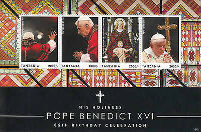 Tanzania 2012 MNH Pope Benedict XVI 85th Birthday 4v Sheetlet Stained Glass