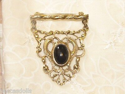 Victorian MOURNING Brooch Chatelaine Antique Doll Jewelry Lg Doll Elegant!