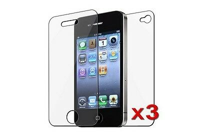 3x Front / 3x Back - Reusable Screen Protector for iPhone 4S / 4G HD with Cloth