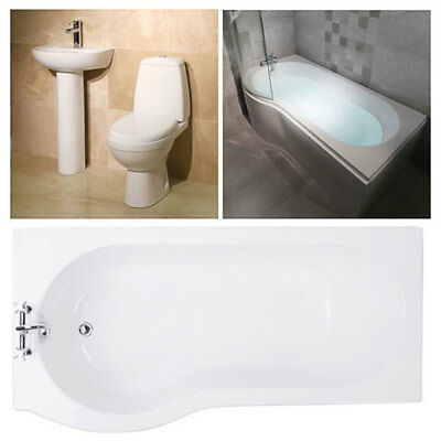 Modern White Ceramic Toilet Basin Sink Suite P Shape Shower Bath with Screen