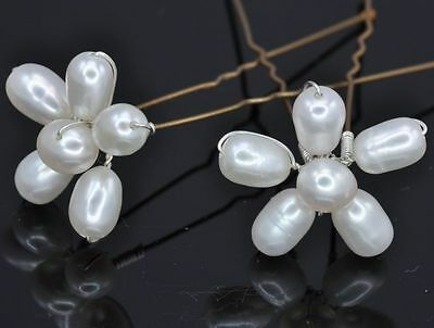 Genuine White Freshwater Pearl Flower Crystal Hair Pin Wedding Alt Tiara Bridal