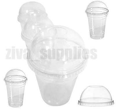 Smoothie Cups and Lids (10oz,12oz & 16oz)-Clear Plastic Domed Lid-Disposable