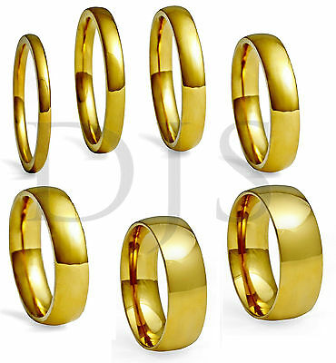 High Polished 18k Gold Plated  Ring Wedding Band, Men & Women, Size 4 to 14.5