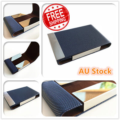 Business Card Holder Case Cover Blue Leather Silver Metal Credit Card Magnetic