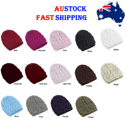 Fashion Lady Girl Women Warm Winter Knitted Crochet Beanie Hat Cap 10 Colors