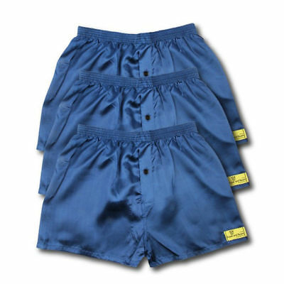 3 Pack Of Satin Boxer Shorts Navy Or Black All Sizes Available S M L Xl Xxl S313