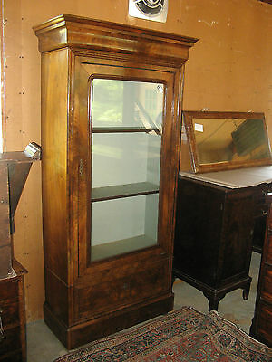 #61219 Antique French Walnut cabinet glass door narrow small china or gun c1890