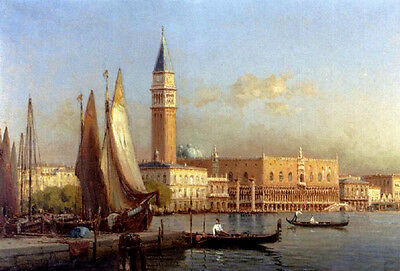 Oil painting cityscape The Grand Canal Venice & sail boats church canoe 36""
