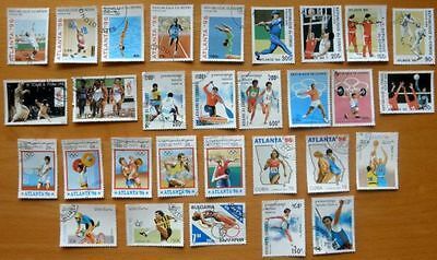 30 X Atlanta Olympic Games 1996 All Different Used World Stamps