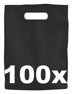 100 x BLACK PLASTIC CARRY BAGS with die cut HANDLE - medium size - 250 x 380mm