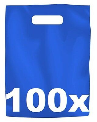 100 x BLUE PLASTIC CARRY BAGS with die cut HANDLE - medium size - 250 x 380mm