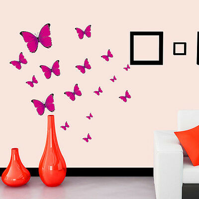 20 pink butterfly removable wall sticker flower home vinyl