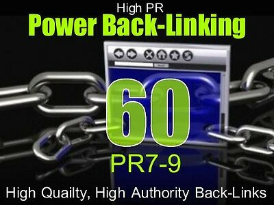 Website Back-links-  60 Back-links PR 7-9, High PR, High Quality, Authority SEO