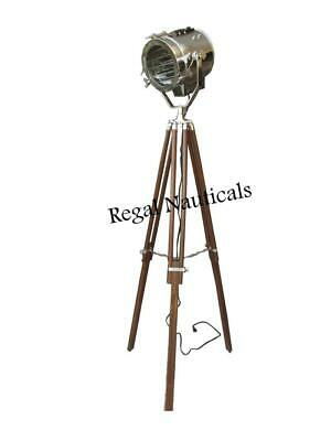 Authentic Designer's Spotlight Floor Lamp With Brown Tripod Stand Chrome Light