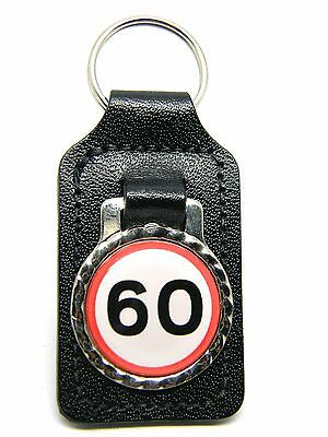60mph Bottle Opener Silver Tone Keyring 60th Birthday 60 years old BN