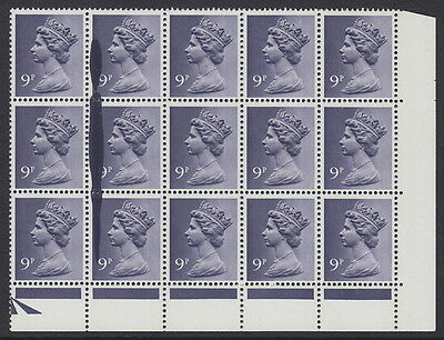 GREAT BRITAIN - 1976 9p. Violet (2B) - 'Ink Splash' Error Block of 15 - MM / MH