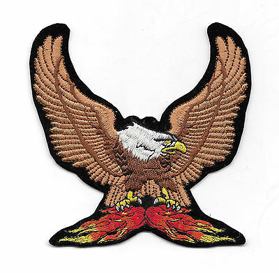 Wings Up Eagle Flame  Embroidered Patch  Small