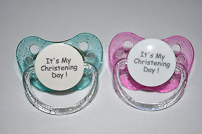 """**Unique** Expression Dummy Soother Pacifier,Orthodontic """"It's My Christening"""""""