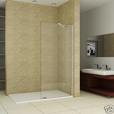 1400x700mm Shower Enclosure Walk In Wet Room Screen 8mm Glass Panel Stone Tray R