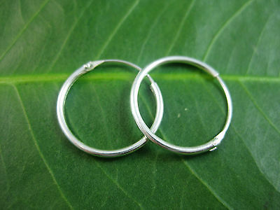 925 Sterling Silver big 16mm hinge sleepers hoops unisex earrings - non allergic