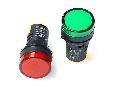 24 volt red and green pilot LED indicator lamps 22mm control panel light stop go